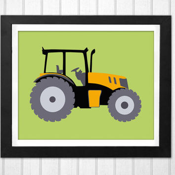 Nursery yellow tractor green background print INSTANT DOWNLOAD