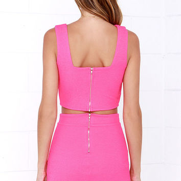 Almost Doesn't Count Hot Pink Bodycon Two-Piece Dress