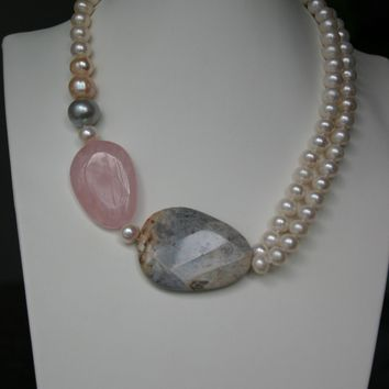 White Freshwater Pearl Necklace with Rose Quartz And Grey Agate Gemstones