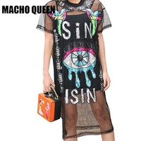 Harajuku Dress Holographic Festival Rave Outfits Clothes Wear Eye Patches Loose Shirt Dress Women Black Bird Patches Mesh Dress