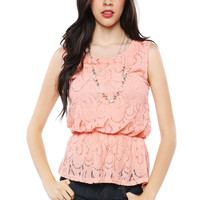 Papaya Clothing Online :: NECKLACED LACY TOP