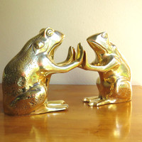 Vintage Brass Frog Bookends, Gold Frog Book Ends, Pair of Frogs, Large Heavy Bookends
