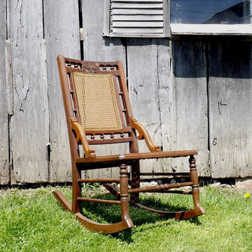 Antique Eastlake Caned Rocking Chair, Victorian Wooden Rocker, Cane Seat and Back