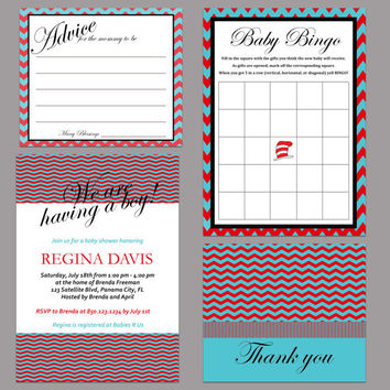 Digital Printable Dr Suess Inspired Red, Turquoise Baby Shower Invitation, Advice Card, Baby Bingo, Thank You Card