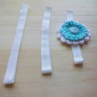 Vegan Blue White Flower Headband Crochet Cotton Flower Small Medium Large