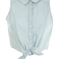 Scalloped Tie Shirt - Jeans & Denim - Clothing - Miss Selfridge