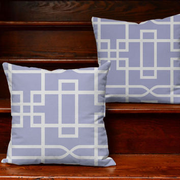 Purple Geometric Throw Pillows - Abstract Greek Key Print Pillow Covers with or without Cushion Covers - Purple Pillow, Modern Room Decor