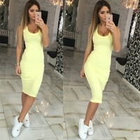 Sleeveless Backless Sheath Midi Dress