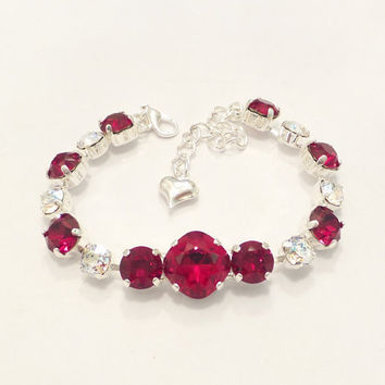 SWAROVSKI CRYSTAL BRACELET, red, 12mm, 8mm, designer inspired, valentines day, bridal, feminine, pretty