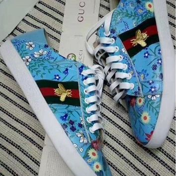 Gucci Trending Women Men Small Bee Stripe Flat Sport Shoes Blue I