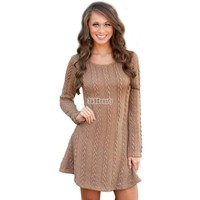 Fashion Autumn Women Dress Casual Fall Winter Dresses Long Sleeve Sexy Knitted RetroTwist Bandage Vestidos S-XL