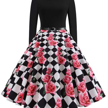 Plus Size Floral & Checkered Print Fit And Flare Dress