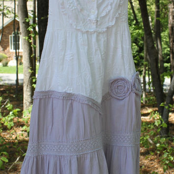 Shabby Chic Dress Cottage Chic Dress Tattered Boho Country Farm Girl Bridesmaid Barn Wedding White Lavender Eco Friendly Upcycled Clothing