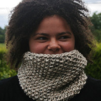 Hand Knit Neck Warmer- Women- Teen- Cowl- Cream- Oatmeal tweed- Rustic mega chunky with wool- women's accessories