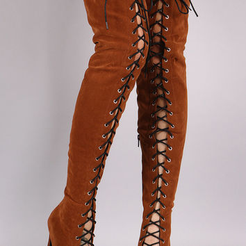 Suede Lace-Up Stiletto Over-The-Knee Boots