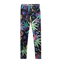 ZLYC Colorful Maple Leaf Leggings