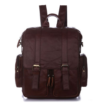 Vintage Leather Men's Coffee Popular Hiking Backpack Messenger Shoulder Bag_Backpacks_Men's Leather Bags