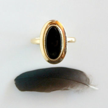 Vintage Black Onyx Ring -  Memento Mori Jewelry - Antique Victorian Gold Ring - Natural Gemstone Mourning Ring - Art Deco Adjustable Size 7