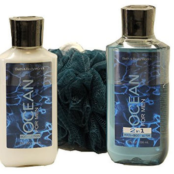 Bath & Body Works Signature Collection Ocean for Men Gift Set - Bundle - 3 Items: Body Lotion, 2 in 1 Hair and Body Wash, and Shower Sponge