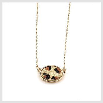 Fashion Statement Animal Skin Print Cheetah Oval Necklace 16""