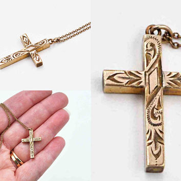 Vintage 12K Yellow Gold Filled Cross Pendant Necklace, Chased, Engraved, 14K GF Chain, 3D, Reversible, Thick, Beautiful! #c436