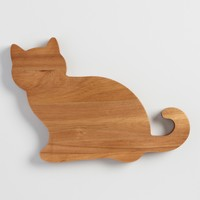 Cat Acacia Wood Cutting Board