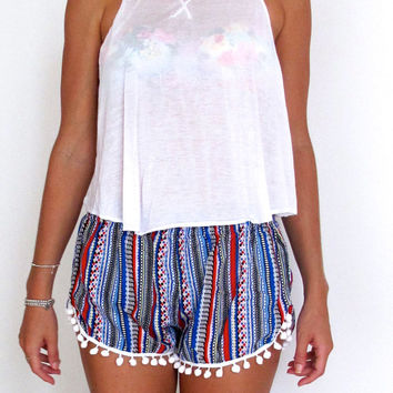 High Waisted Pom Pom Shorts  - Aztec Pattern with Large White Pom Pom Trim - Beach shorts