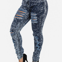 High Rise Acid Wash Ripped Skinny Denim Jeans (Dark Blue)