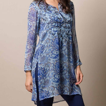 Indigo Silk Tunic