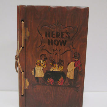 Vintage 1941 Here's How Mixed Drink Guide Book  Wood Cover Three Mountaineers Mixology Bar Guide
