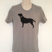 Labrador print tshirt, mens - hand printed, organic cotton, carbon neutral garment