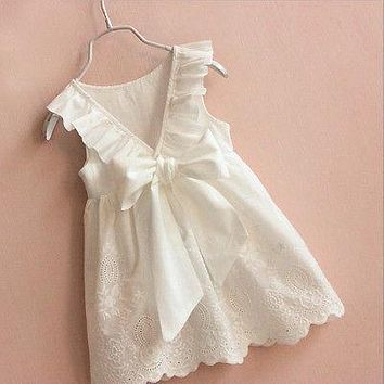 Cute Kids Baby Girls Lace Dress Princess Party Bow Pageant Wedding Sundress Dresses 2-8T