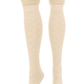Femme Floral Thigh High Scrunch Socks in Ivory - PLASTICLAND