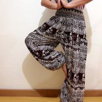 Thai Elephant Boho Hippie Baggy Pants/ Harem Pants/ Aladdin Pants/ Genie Pants for Unisex (Brown)