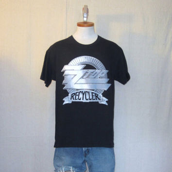 Vintage Deadstock 1990 ZZ TOP RECYCLER Tour Graphic Rock Music Band Black Medium Cotton T-Shirt