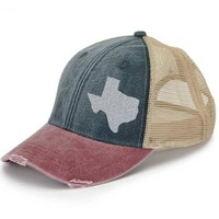 Distressed Snapback Trucker Hat -  Texas off-center state pride hat - Many Colors available