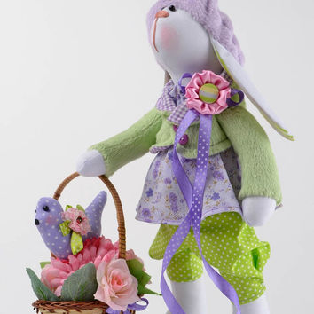 Handmade interior textile doll designer rag bunny toy present for children