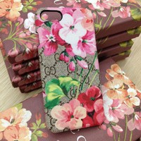 GUCCI Fashion Flower Print iPhone Phone Cover Case For iphone 6 6s 6plus 6s-plus 7 7plus