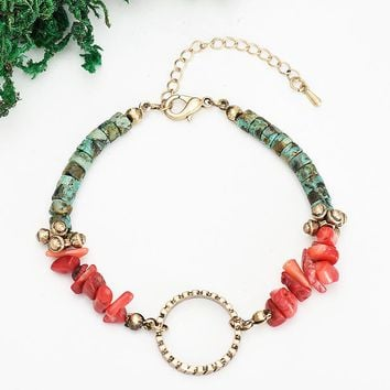 Original Design of Retro Chain Natural Stone Handmade DIY Bracelet-180319