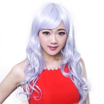 Extra Long Granny Grey Curly Wavy Tilted Frisette Cap Wig one piece Hair lace