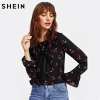 Cherry Print Bell Cuff Frilled Top Autumn Women Printed Blouse Black Long Sleeve Ruffle Bow Front Cute Blouse