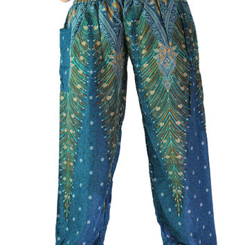 Peacock pants / Hippie pants / Yoga pants one size fits