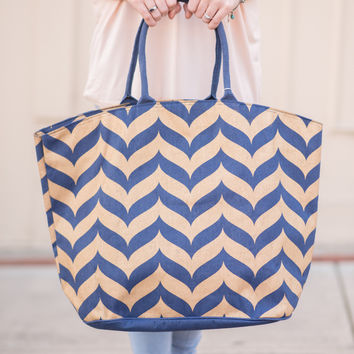 Shimmer Tote - Navy Whale Tail