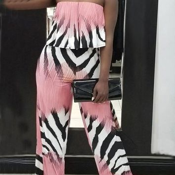 Pink Striped Zebra Pattern Ruffle Off Shoulder Backless Party Wide Leg Long Jumpsuit