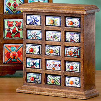 Handmade Ceramic-Drawer Wood Chest | Decorative Accessories| Home Decor | World Market