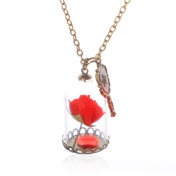 new fashion necklace with glass bottles of roses