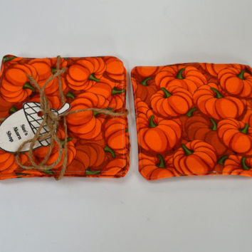 Pumpkin Coasters, Fabric Coaster, Mug Rug, Fall Decor, Drink Accessory, Table Protector, Cloth Mat, Hostess Gift, Birthday Gift, Autumn