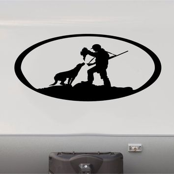 Black Labrador Duck Hunting Mountains RV Camper 5th Wheel Motorhome Vinyl Decal Sticker Graphic Custom Text Mural