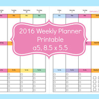 a5 weekly planner inserts, Planner Pages 8.5 x 5.5, Half Size Planner Pages, a5 planner bundle, filofax a5 week on two pages,filofax a5 2016