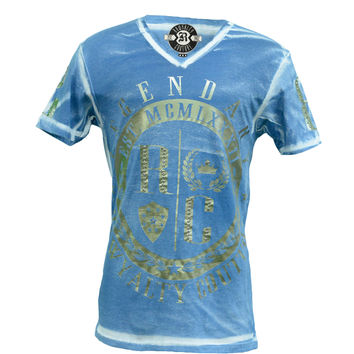 Rawyalty Couture Men's RC Legend w/Stones Nickel Foil Spray Royal T-Shirt